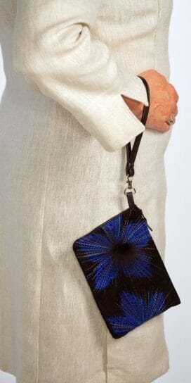 Cobalt Organza Lily Suede Leather Wristlet