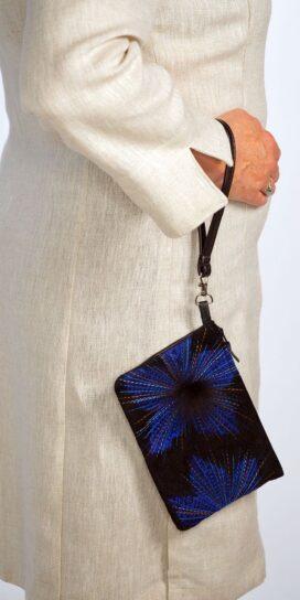 Cobalt Organza Lily Suede Leather Wristlet