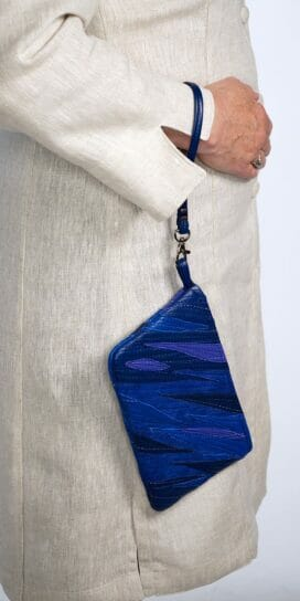 Leather Suede Wristlet with Appliqué in Cobalt Blues