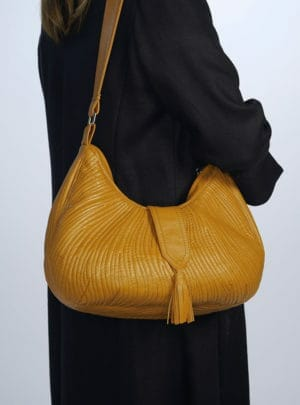 Genuine Leather Half Moon Bag with Swirl Quilt design in Curry