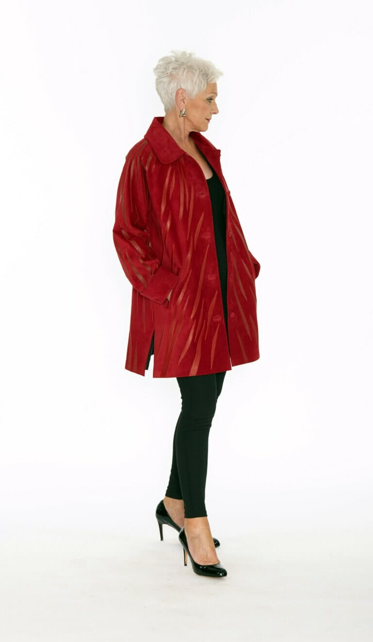 Easy Fit Car Coat Genuine Black Suede with Zebra Swirl Appliqué in Red