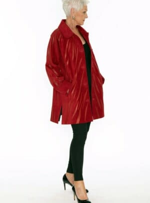 Easy Fit Car Coat Genuine Black Suede with Zebra Swirl Appliqué in Red