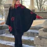 Black Genuine Suede Circle Cape with Red Lamb Leather Hood