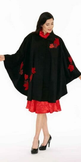 Genuine Black Suede Circle Cape, Red Maple Leaf Appliqué