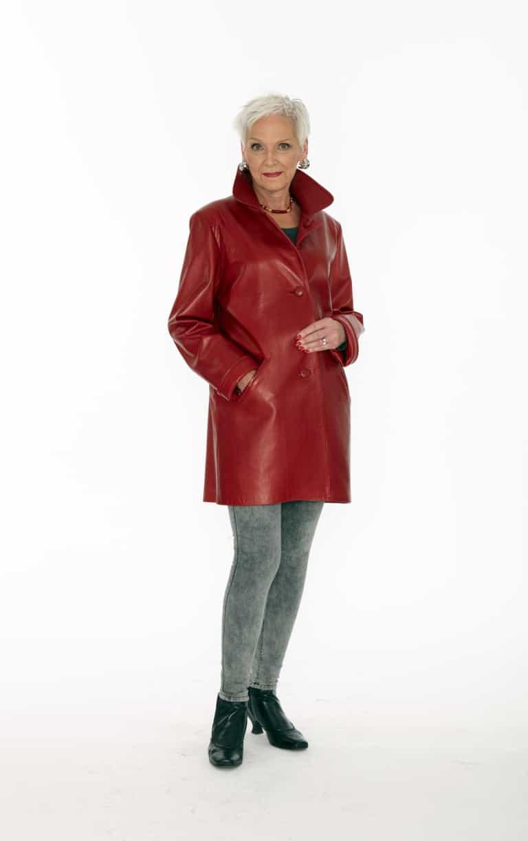 Genuine Italian Red Lamb Leather Jacket