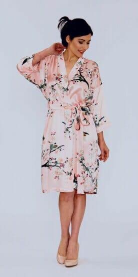 Kimono Robe in Pure Silk Apple Blossom