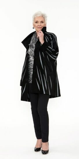 Easy Fit Car Coat Genuine Black Suede with Zebra Swirl Appliqué in Medium Grey Leather