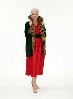 Easy Fit Cocoon Coat Genuine Black Suede with Zebra Appliqué in Cognac Suede