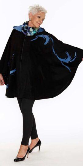 Genuine Suede Circle Cape with Hood Swirling Leaves in Black-Cobalt Blue