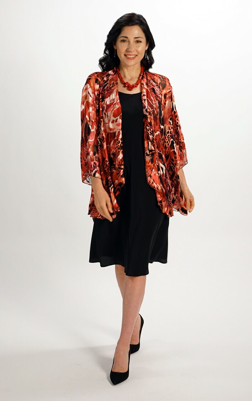 Silk Draped Jacket Top in Hot Reds