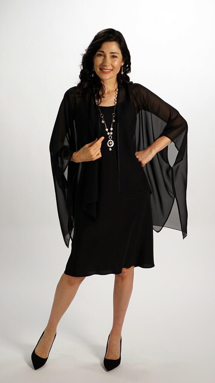 Silk Square Kimono Style Top in Black Chiffon