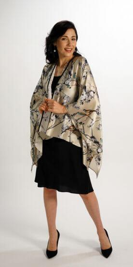 Silk Square Kimono Style Top Gold Birds