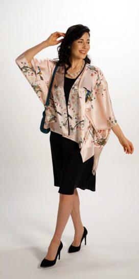 Silk Square Kimono Style Top Apple Blossom
