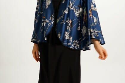 Silk Capelet in Blue Bird