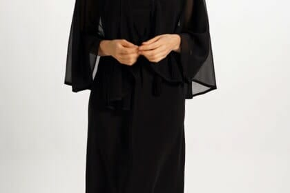 Silk Capelet in Black Chiffon