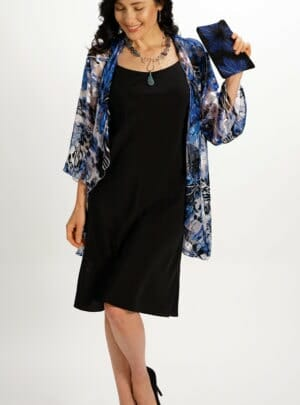 Silk Draped Top in Mediterranean Blue