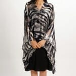 Silk Poncho Top in Black And White Flow