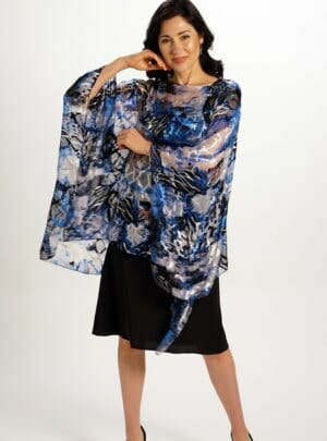 Silk Poncho Top in Mediterranean Blue