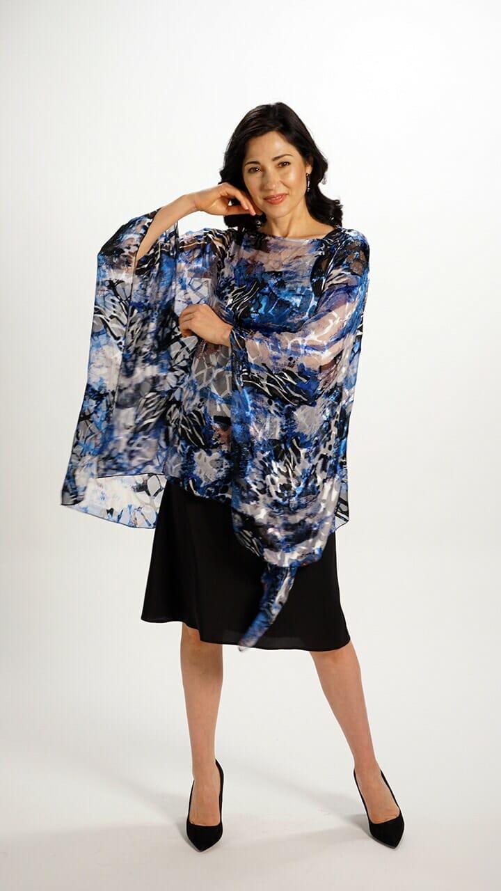 Silk Poncho Top in Mediterranean Blue