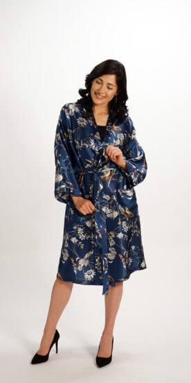 Kimono Robe in Pure Silk Blue Bird