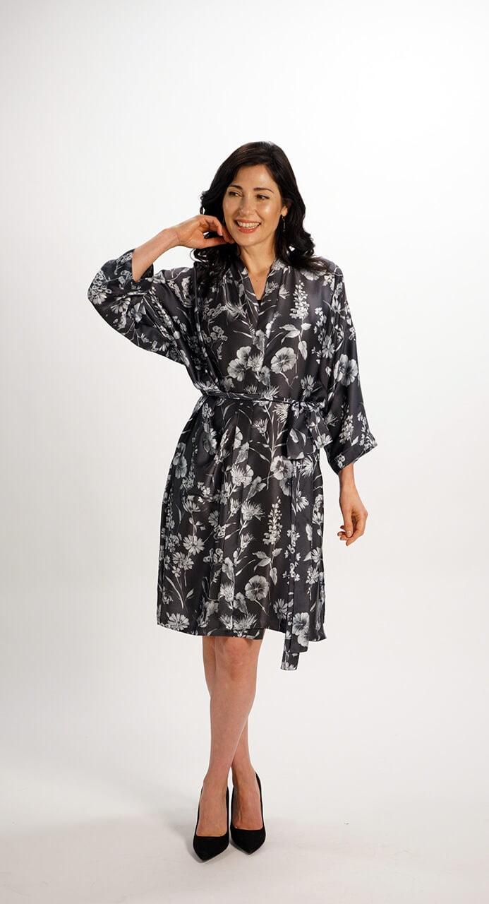 Kimono Robe in Pure Silk Grey Floral