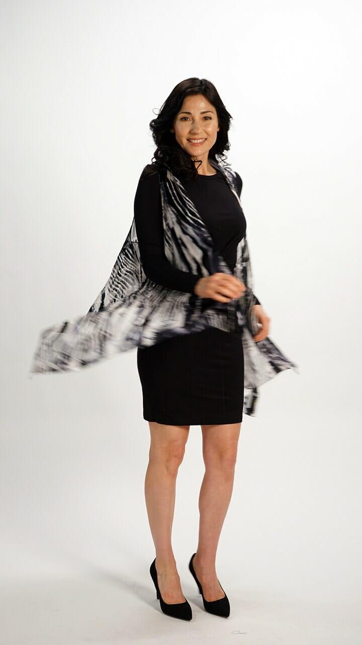 Silk Scarf Vest in Black White Flow
