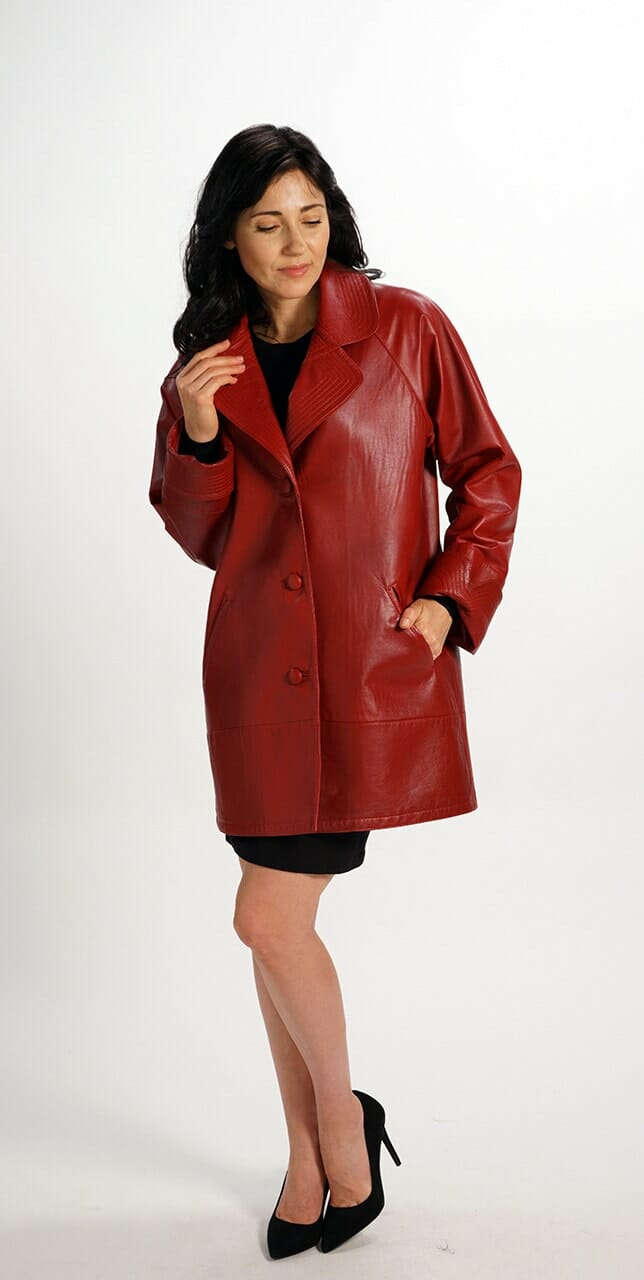 Easy Fit Car Coat in Genuine Red Italian Lamb Leather