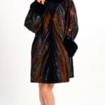 Genuine Leather And Suede Easy Fit Car Coat in Collage Appliqué Design