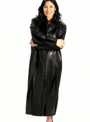 Genuine Italian Lamb Leather Long Coat in Mountain Collage Appliqué Design