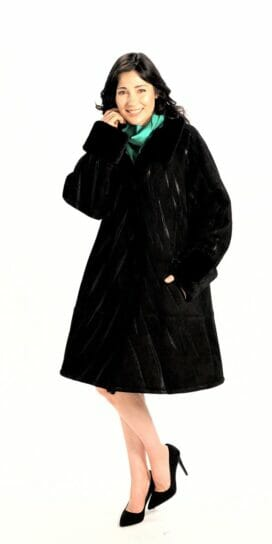 Genuine Spanish Lamb Shearling Coat in Zebra Appliqué Design in Black
