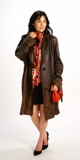 Genuine Italian Lamb Leather Easy Fit Coat in Chestnut