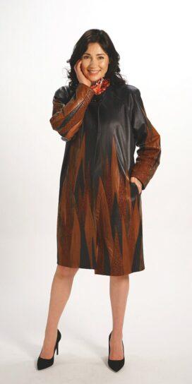 Genuine Italian Lamb Leather Easy Fit Coat in Black