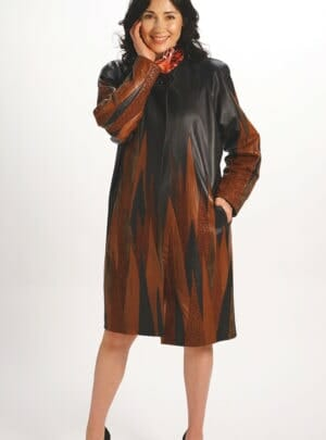 Genuine Italian Lamb Leather Easy Fit Coat in Black