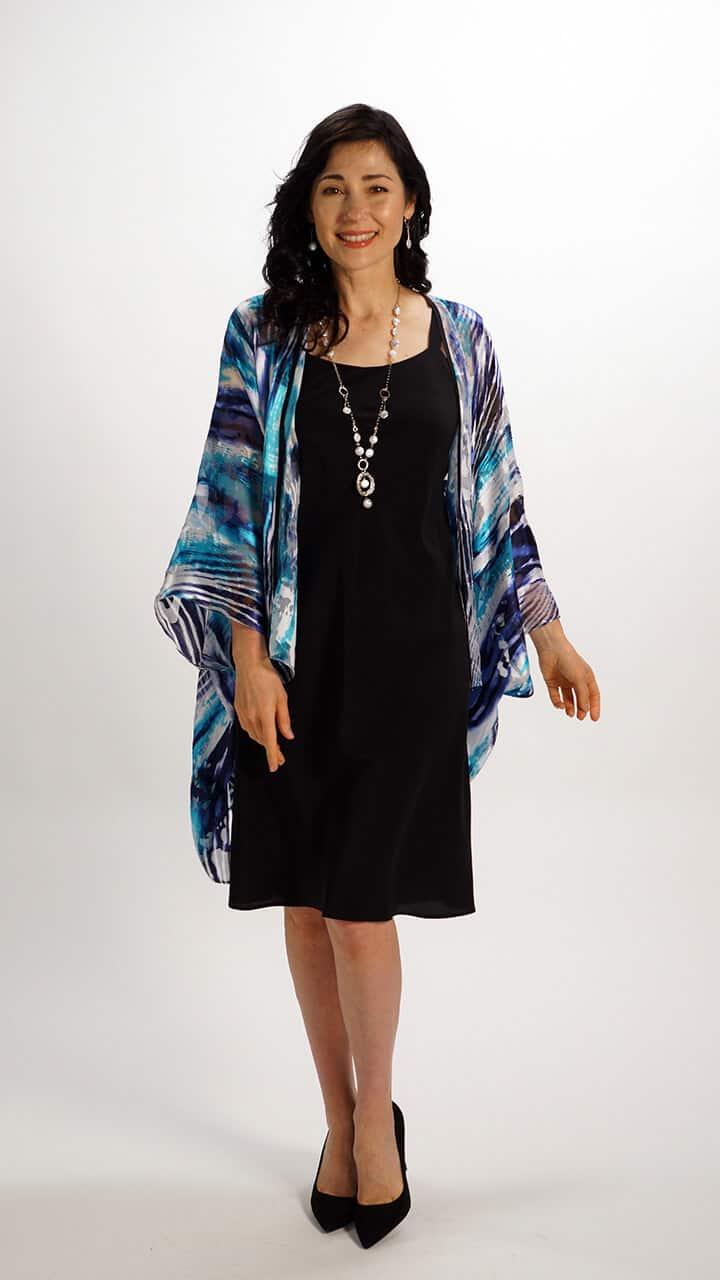 Silk Square Kimono Style Top Water Flow