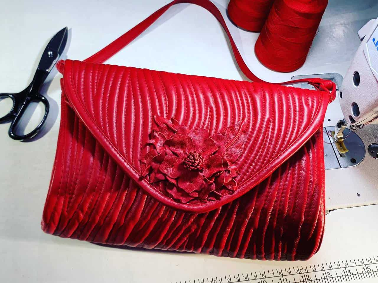 Rectangle Envelope Bag with Handmade Leather Flower in Red