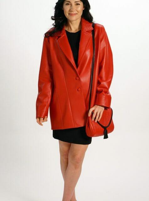 Boyfriend Jacket Genuine Red Italian Lamb Leather
