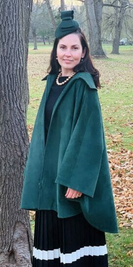 Genuine Suede Circle Cape in Emerald Green