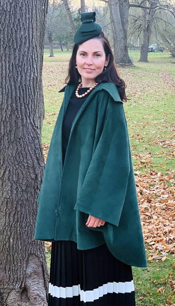 Genuine Suede Circle Cape in Emerald Green