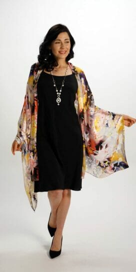 woman wearing a silk scarf