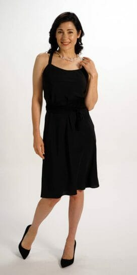 Black Pure Silk Crepe Slip Dress