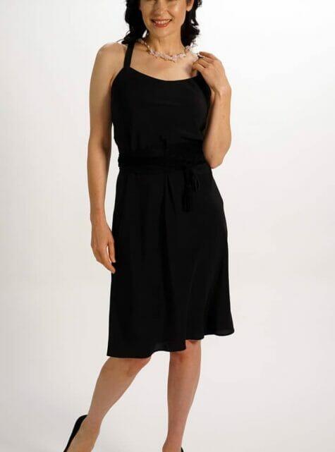 Black Pure Silk Crepe Slip Dress