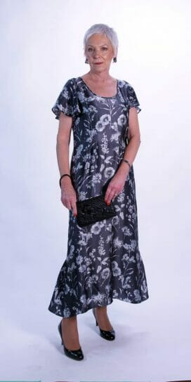 Grey Floral Pure Silk Long Dress