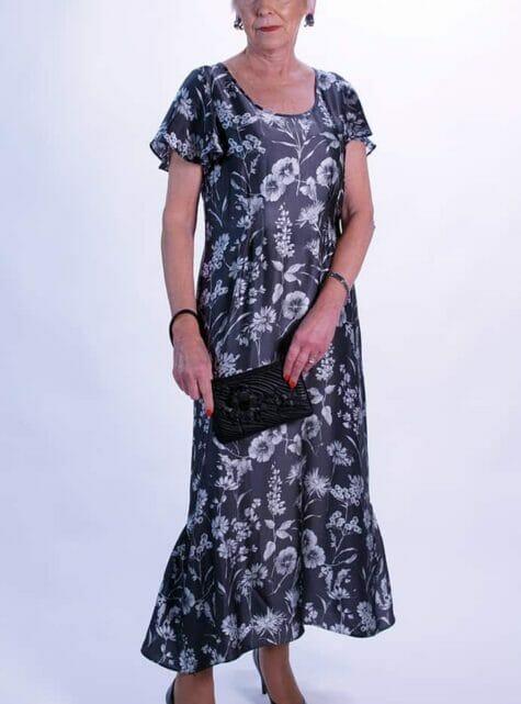 Grey Floral Pure Silk Long Dress