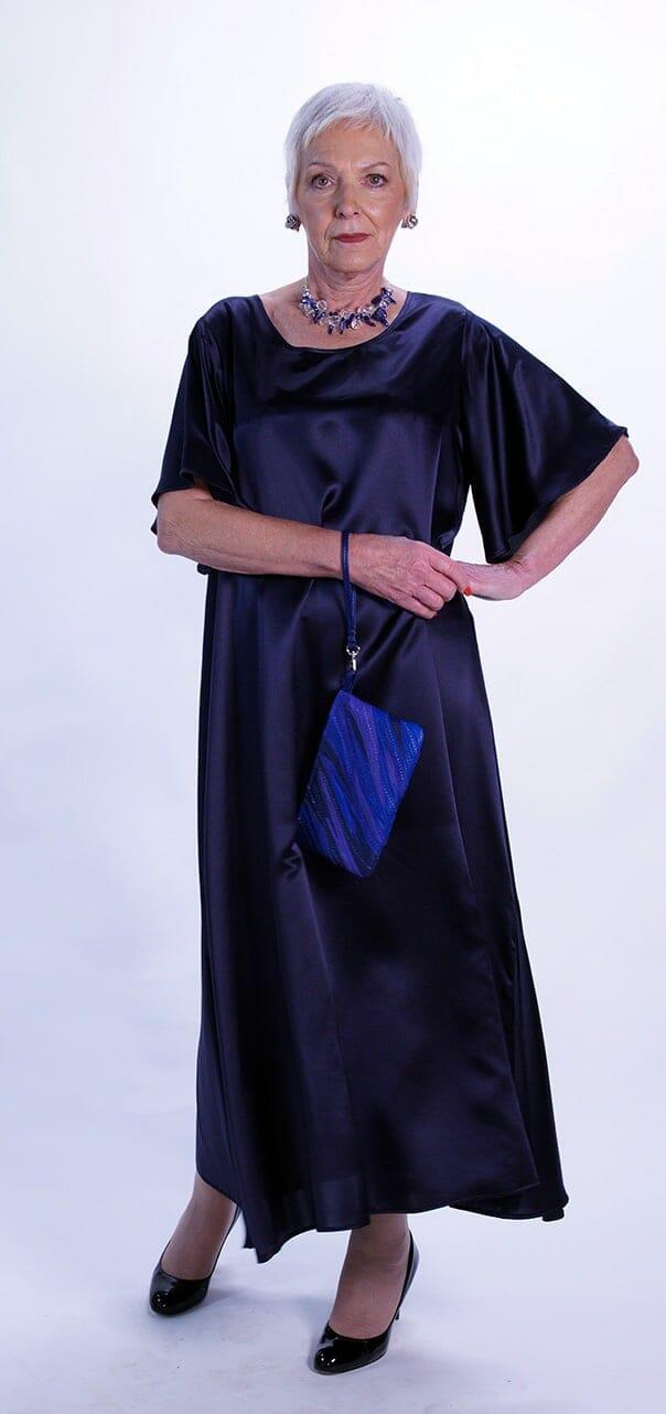 Classic A Line Pure Silk Long Dress