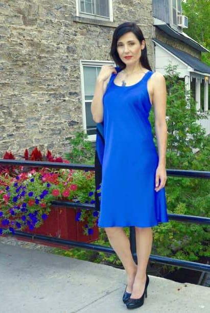 Blue Cobalt Pure Silk Crepe Slip Dress