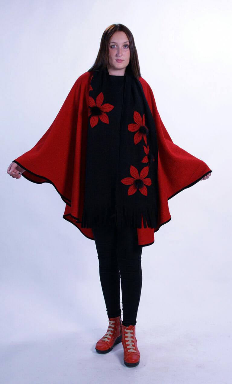 Black Wool Long Scarf