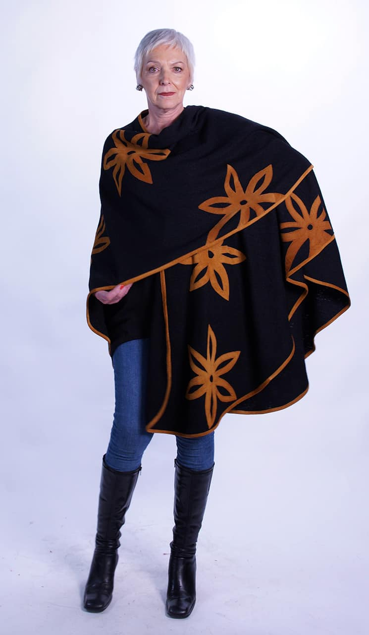Folkloric Floral Swing Long Cape