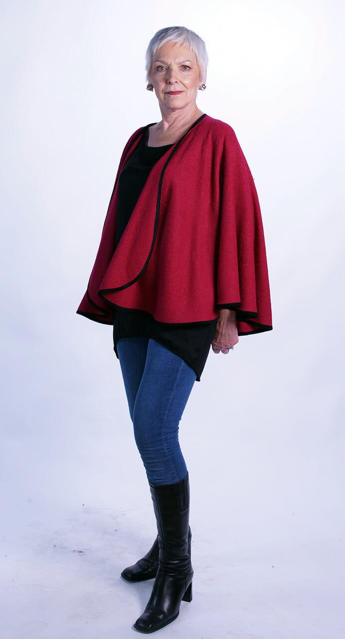 Red Medium Length Wool Cape